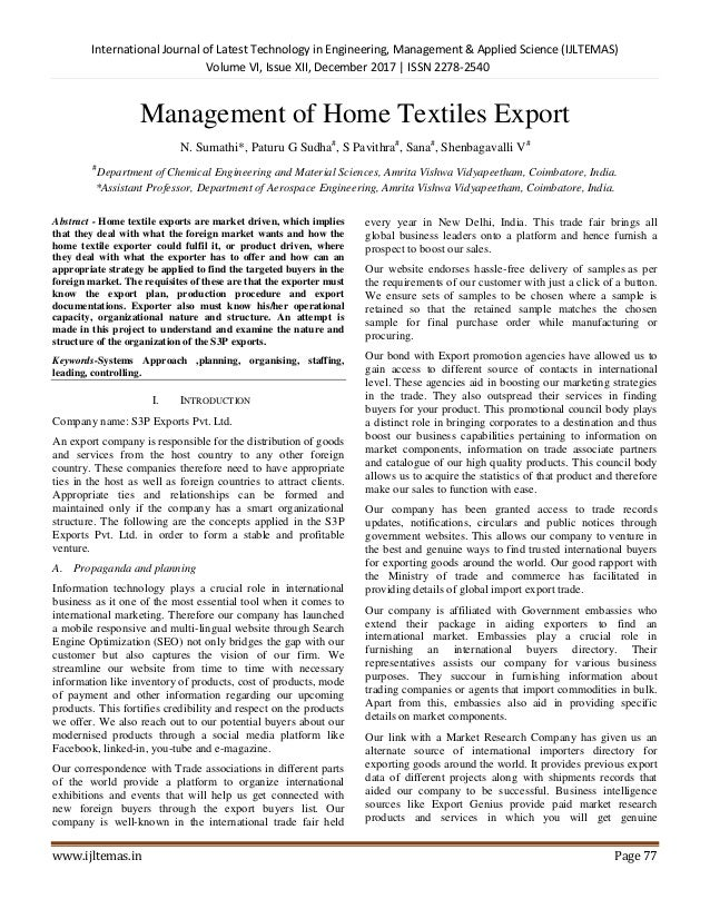 Management of Home Textiles Export