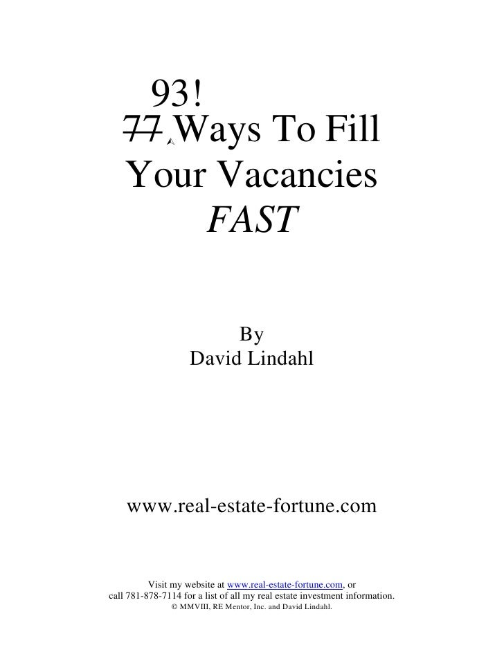 93!    77 Ways To Fill    Your Vacancies         FAST                           By                     David Lindahl      ...