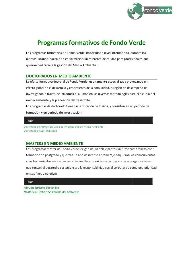 Programas formativos Fondo Verde