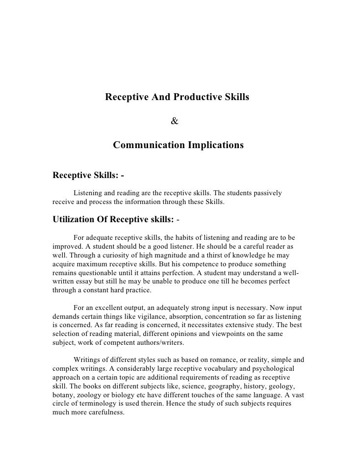 productive skills essay Conclusions on skills for improved productivity, employment growth  social policies to ensure that growth is inclusive and creates productive employment and.