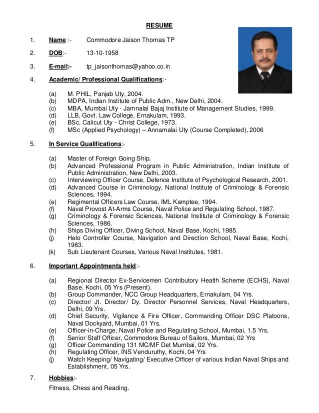 Resume Cmde Thomas Blue