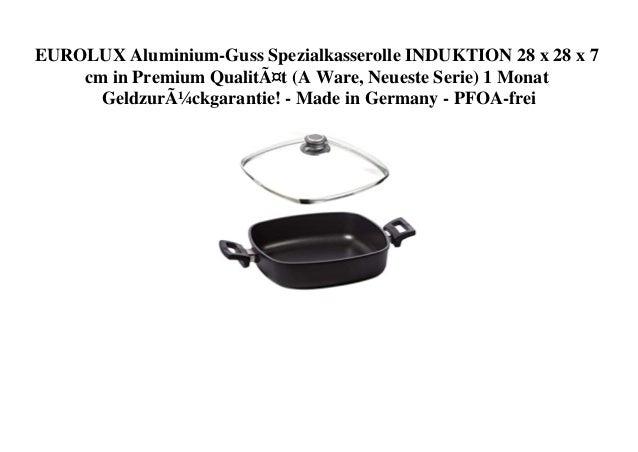 EUROLUX Aluminium-Guss Spezialkasserolle INDUKTION 28 x 28 x 7 cm in Premium Qualität (A Ware, Neueste Serie) 1 Monat Geld...