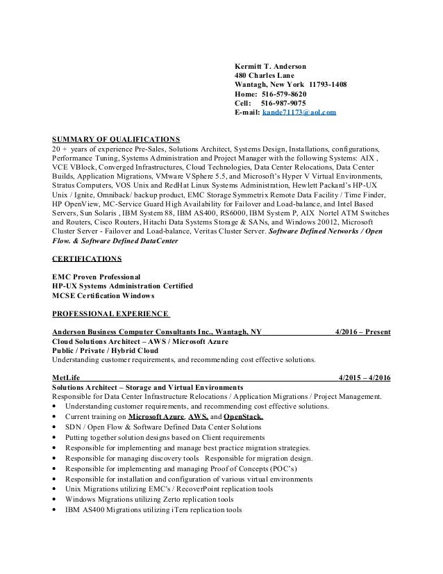 Kermitt Anderson Resume - Current As Of 1-6-2017