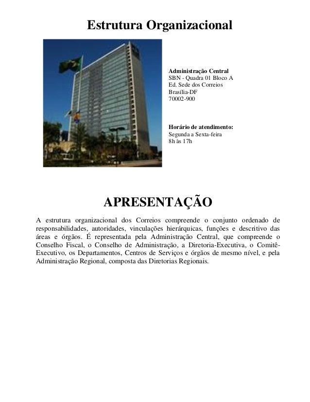 Estrutura Organizacional Administração Central SBN - Quadra 01 Bloco A Ed. Sede dos Correios Brasília-DF 70002-900 Horário...