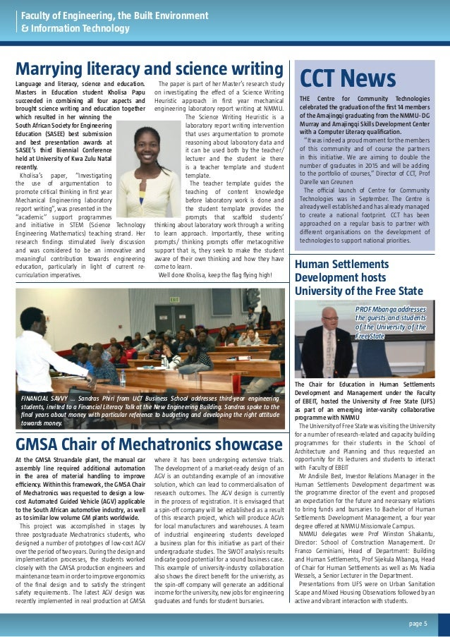 Faculty of Engineering, the Built Environment & Information Technology Marrying literacy and science writing GMSA Chair of...