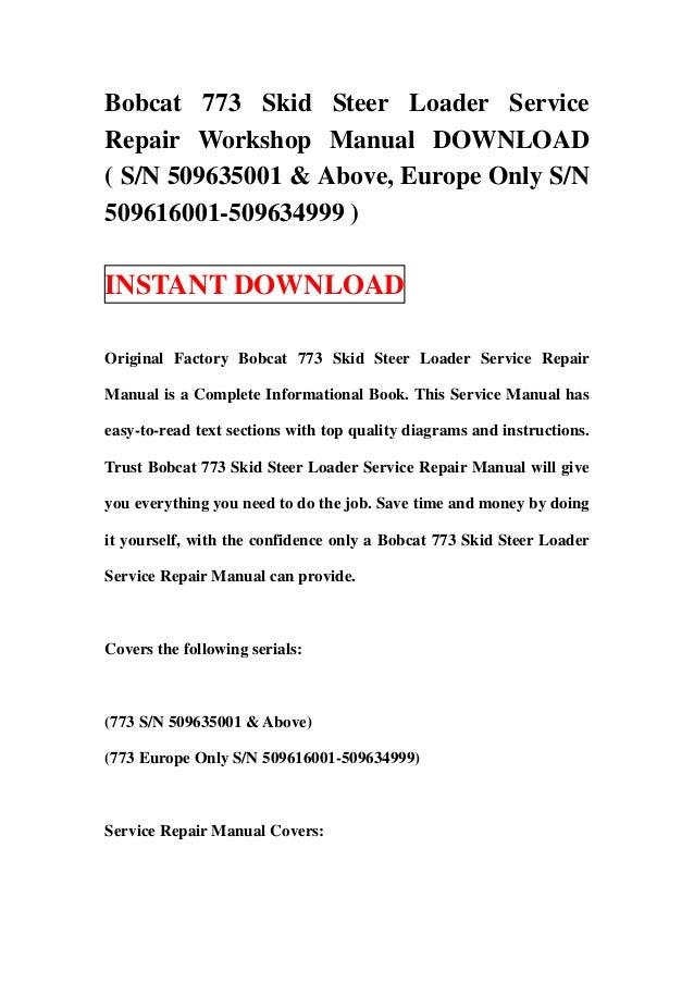 bobcat 742b 743b skid steer loader service repair workshop manual do rh slideshare net Bobcat 743B Hydrostatic Motor Bobcat 743B Parts