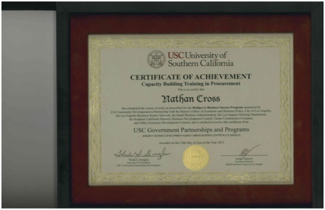 Nathan Cross USC Certificate of Achievement - Capacity Building Train…