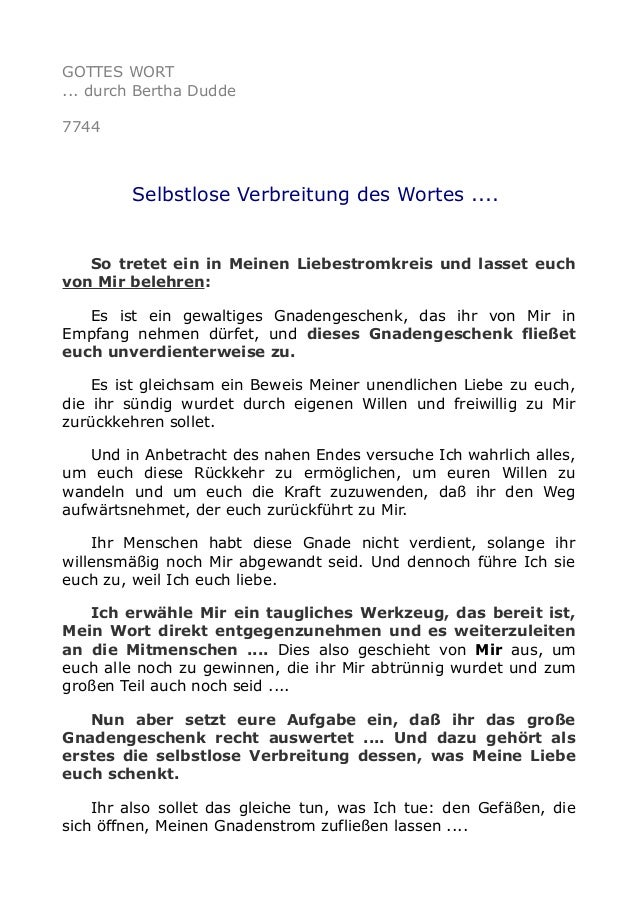 GOTTES WORT ... durch Bertha Dudde 7744 Selbstlose Verbreitung des Wortes .... So tretet ein in Meinen Liebestromkreis und...