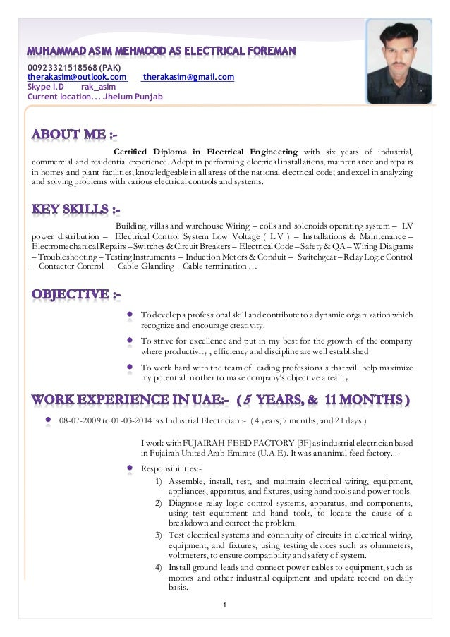 resume muhammad asim mehmood as electrical foreman - Industrial Electrician Resume