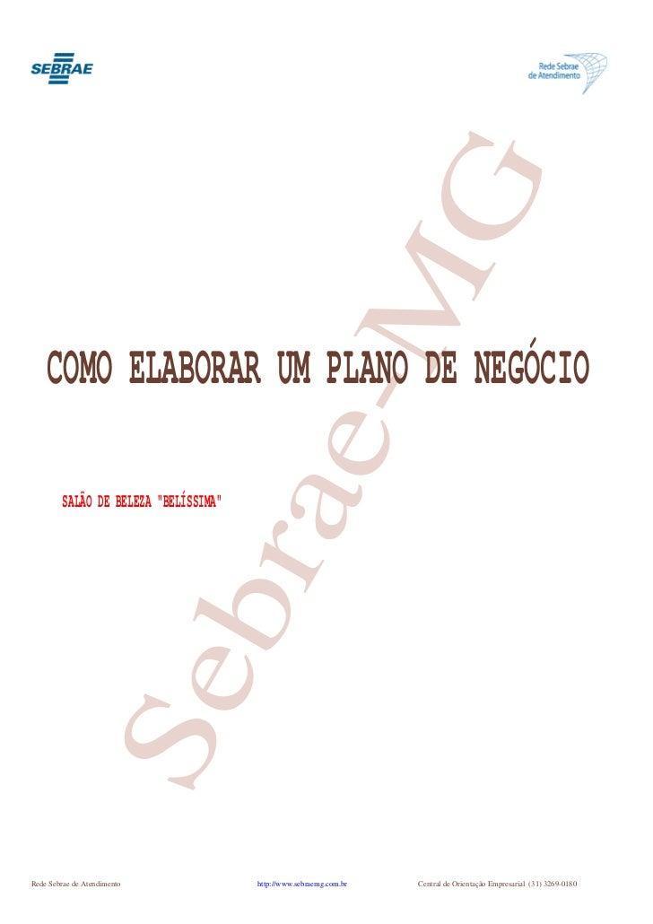 """G    COMO ELABORAR UM PLANO DE NEGÓCIO       e-M                             bra         SALÃO DE BELEZA """"BELÍSSIMA""""      ..."""