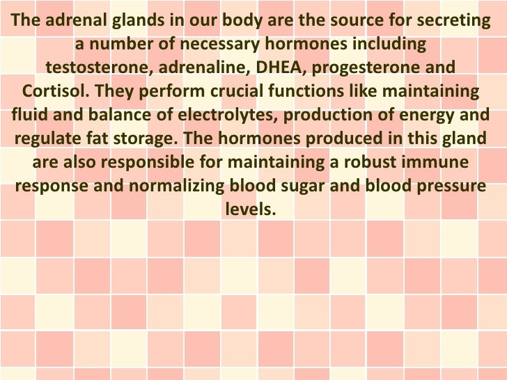 The adrenal glands in our body are the source for secreting         a number of necessary hormones including     testoster...