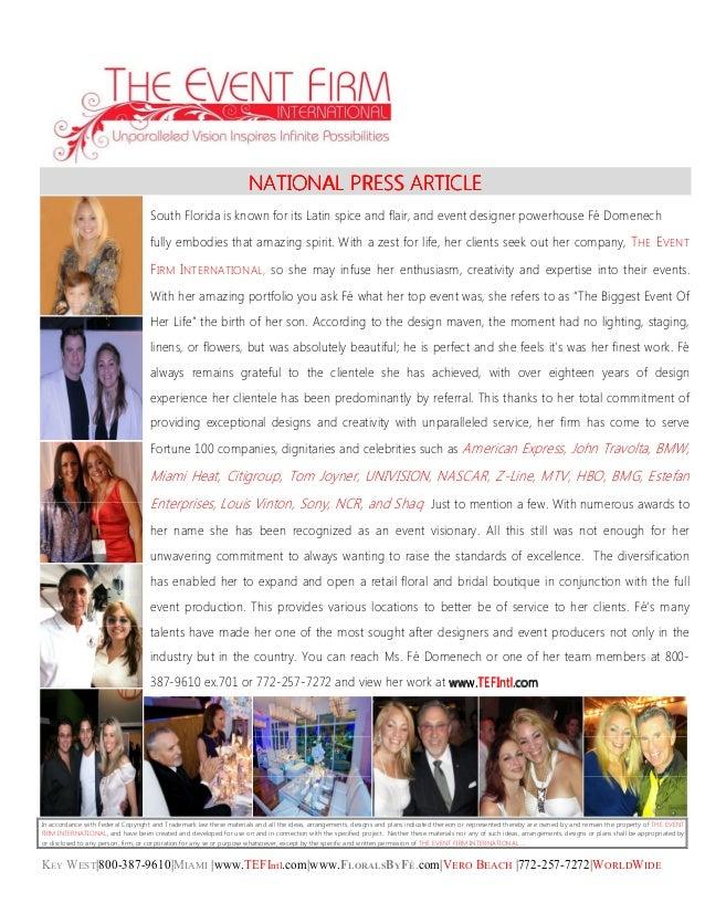 KEY WEST|800-387-9610|MIAMI |www.TEFIntl.com|www.FLORALSBYFÉ.com|VERO BEACH |772-257-7272|WORLDWIDE NATIONALNATIONALNATION...