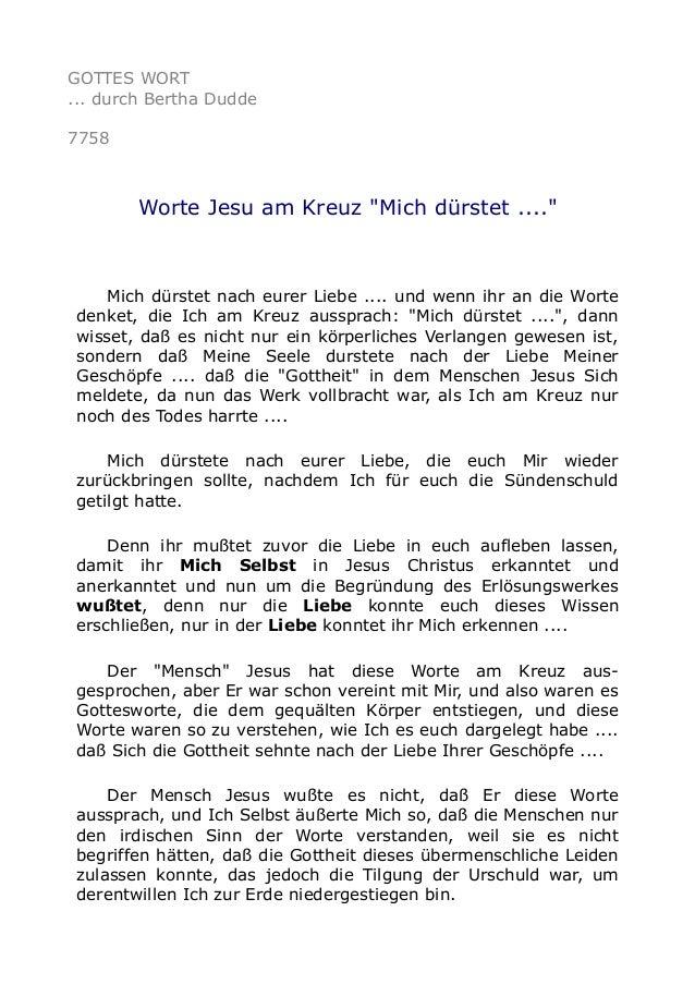 """GOTTES WORT ... durch Bertha Dudde 7758 Worte Jesu am Kreuz """"Mich dürstet ...."""" Mich dürstet nach eurer Liebe .... und wen..."""