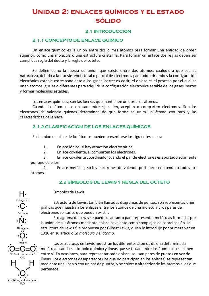Unidad 2: enlaces químicos y el estado                      sólido                                       2.1 INTRODUCCIÓN ...