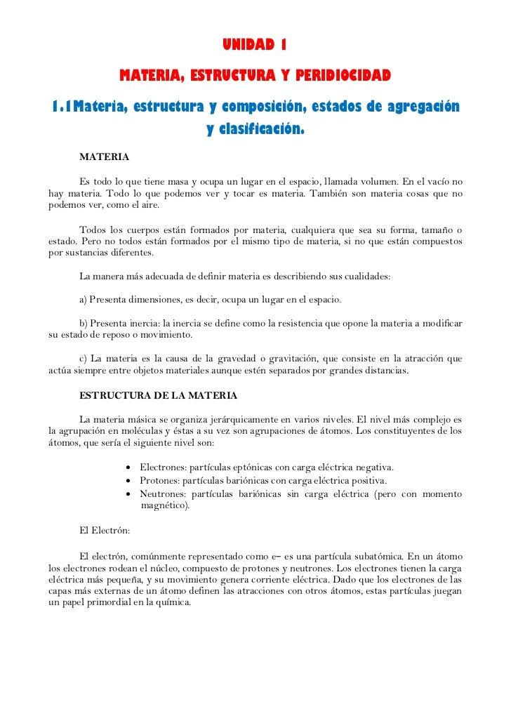 UNIDAD 1                 MATERIA, ESTRUCTURA Y PERIDIOCIDAD1.1Materia, estructura y composición, estados de agregación    ...