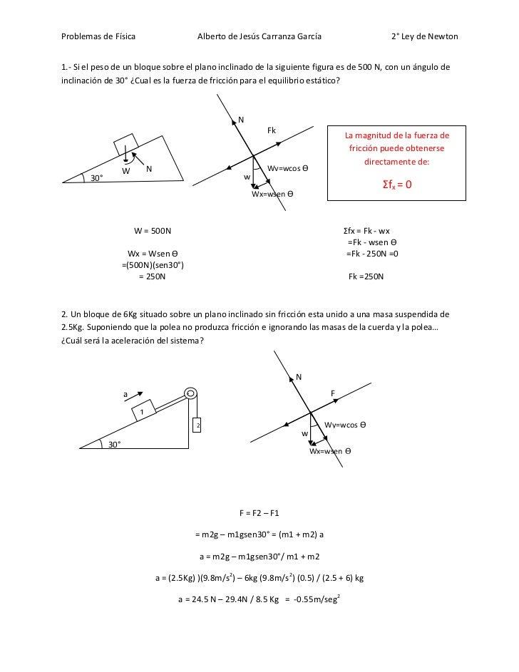 Problemas de Física                         Alberto de Jesús Carranza García                     2° Ley de Newton1.- Si el...
