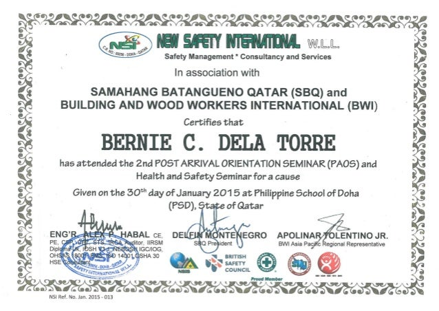 Certificate - Health & Safety Seminar for a Cause