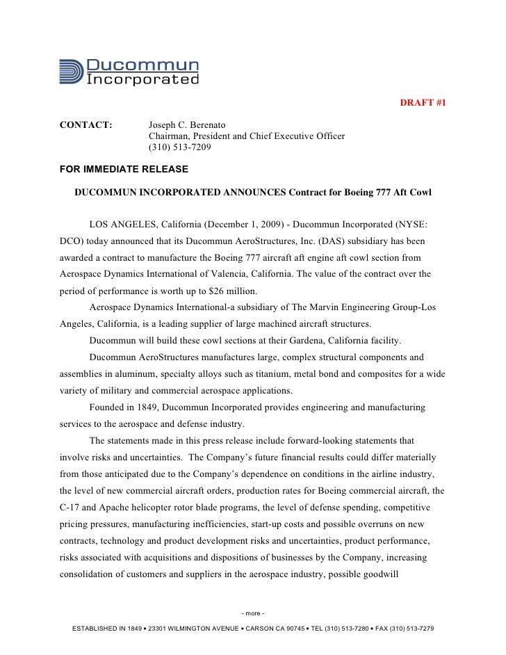 DRAFT #1CONTACT:                 Joseph C. Berenato                         Chairman, President and Chief Executive Office...