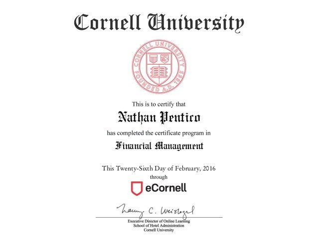 Graduate Certificate In Financial Management - Cornell