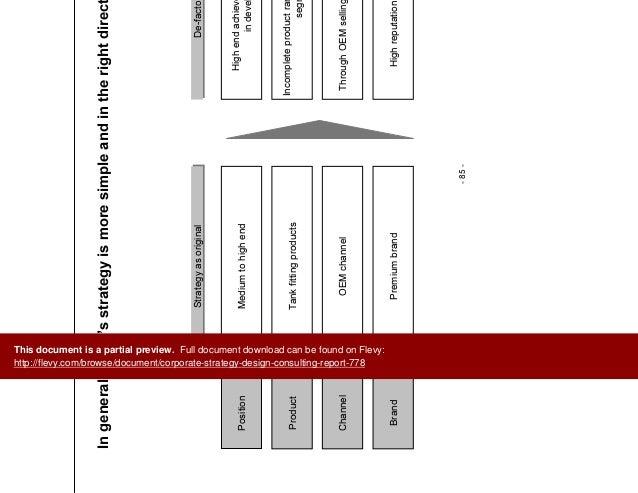 Corporate strategy design consulting report for Strategic design consultancy