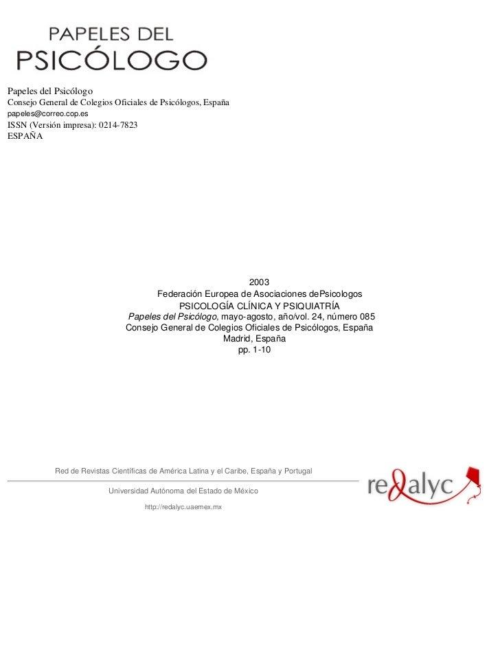 Papeles del PsicólogoConsejo General de Colegios Oficiales de Psicólogos, Españapapeles@correo.cop.esISSN (Versión impresa...