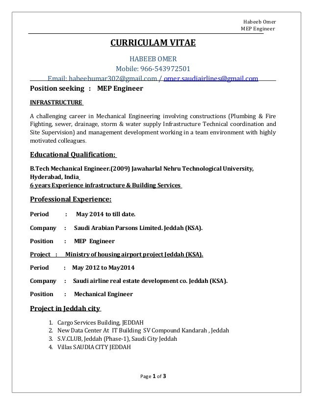 MEP ENGINEER CV HABEEB OMER