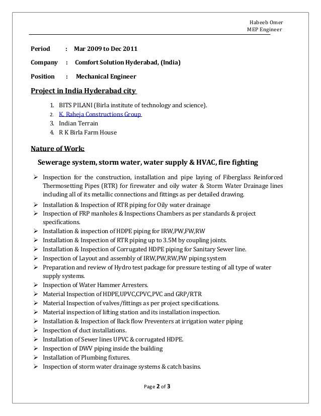 resume mep engineer