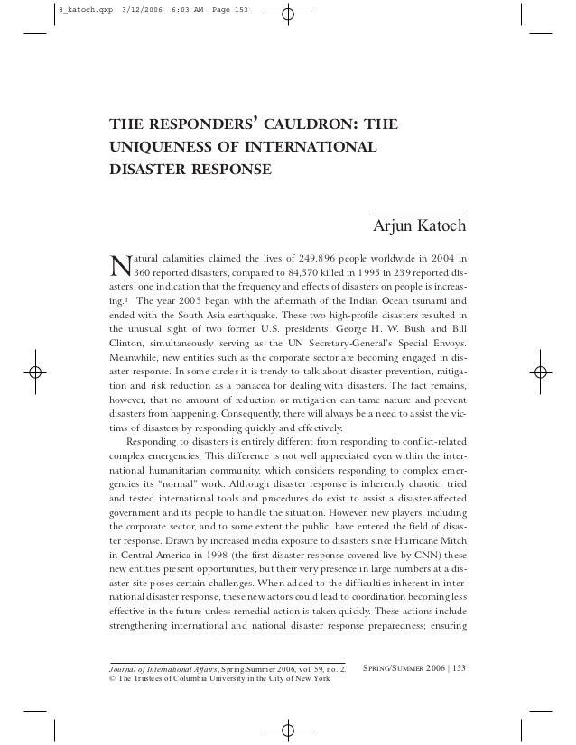 8_katoch.qxp   3/12/2006    6:03 AM     Page 153           THE RESPONDERS' CAULDRON: THE           UNIQUENESS OF INTERNATI...