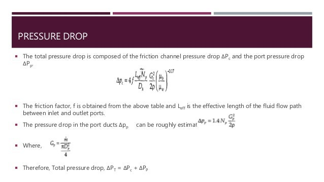 PRESSURE DROP  The total pressure drop is composed of the friction channel pressure drop ΔPc and the port pressure drop Δ...