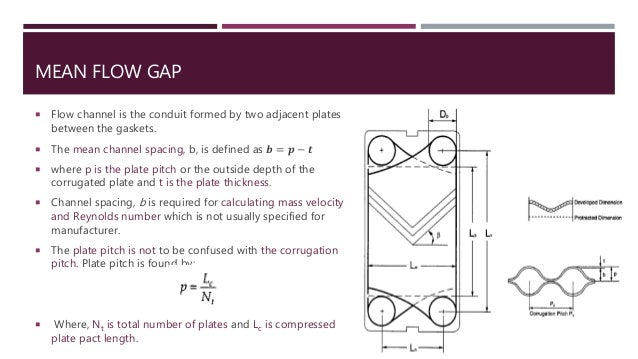 MEAN FLOW GAP  Flow channel is the conduit formed by two adjacent plates between the gaskets.  The mean channel spacing,...