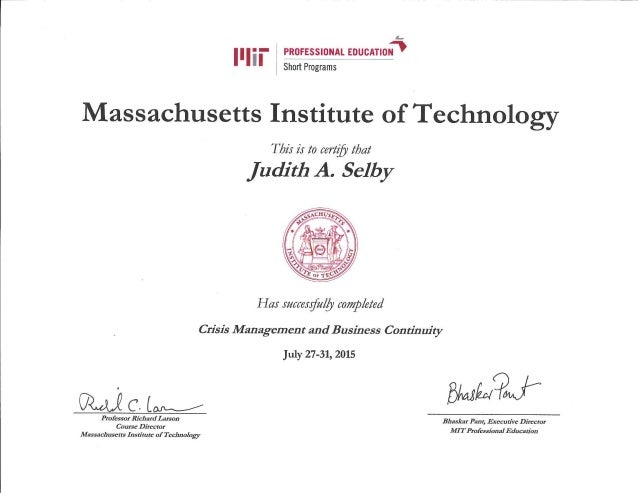 Mit Crisis Management And Business Continuity Certificate