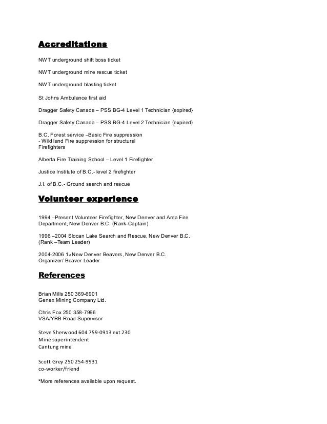 Short Form Resume