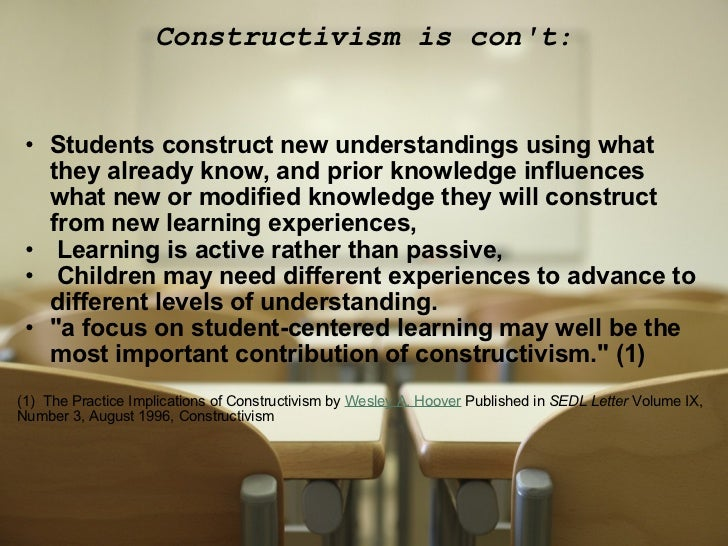 Examples of constructivist theory in the classroom.