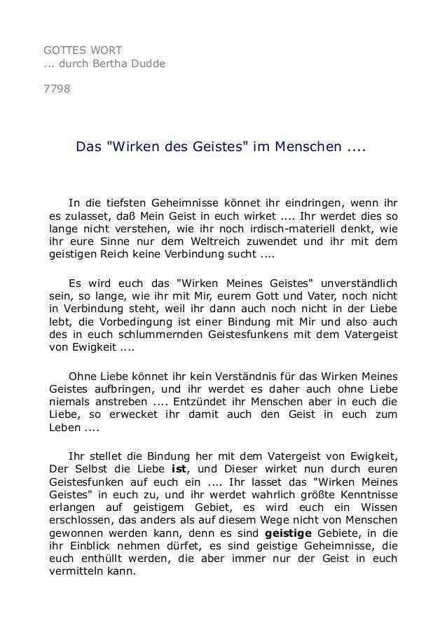 """GOTTES WORT ... durch Bertha Dudde 7798 Das """"Wirken des Geistes"""" im Menschen .... In die tiefsten Geheimnisse könnet ihr e..."""