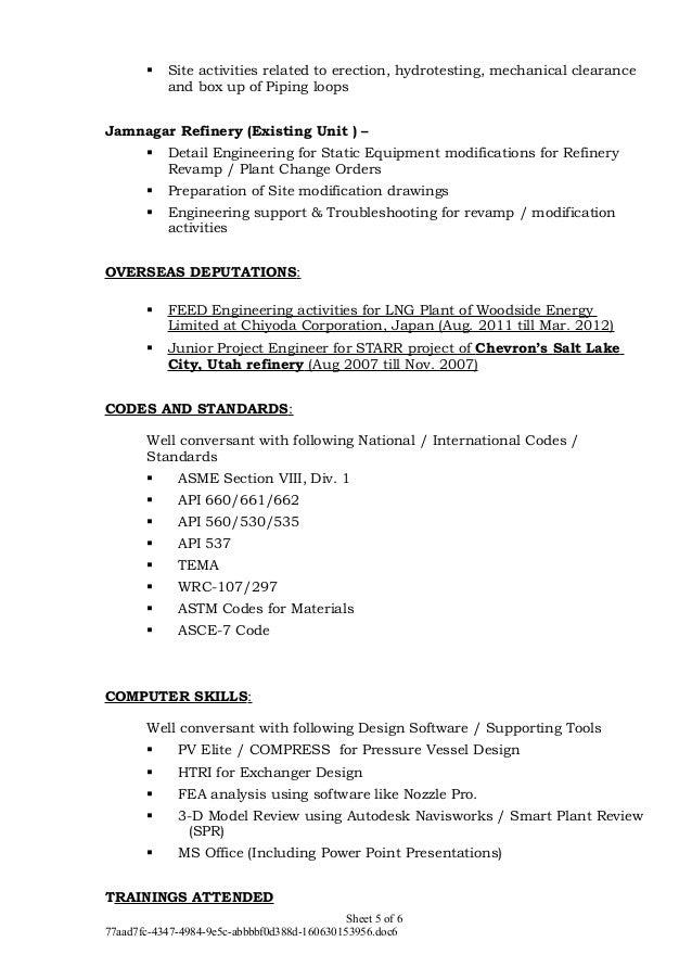 Refinery Piping Engineer Resume