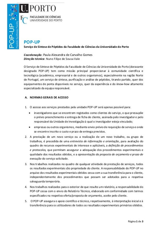 Página 1 de 3 POP-UP Serviço de Síntese de Péptidos da Faculdade de Ciências da Universidade do Porto Coordenação: Paula A...