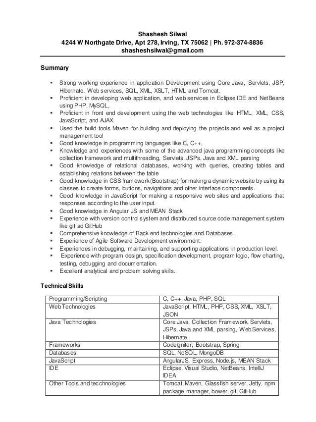 shashesh silwal 4244 w northgate drive apt 278 irving - Angular Js Resume