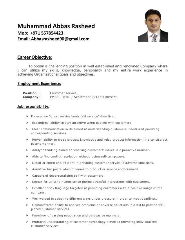 customer services cv - Keni.candlecomfortzone.com