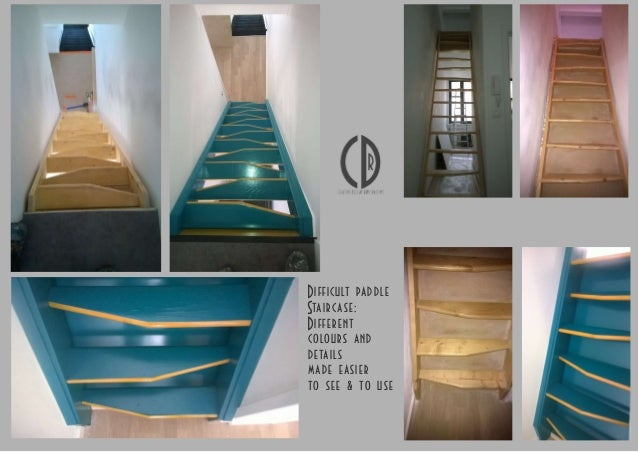 Difficult paddle Staircase: Different colours and details made easier to see & to use