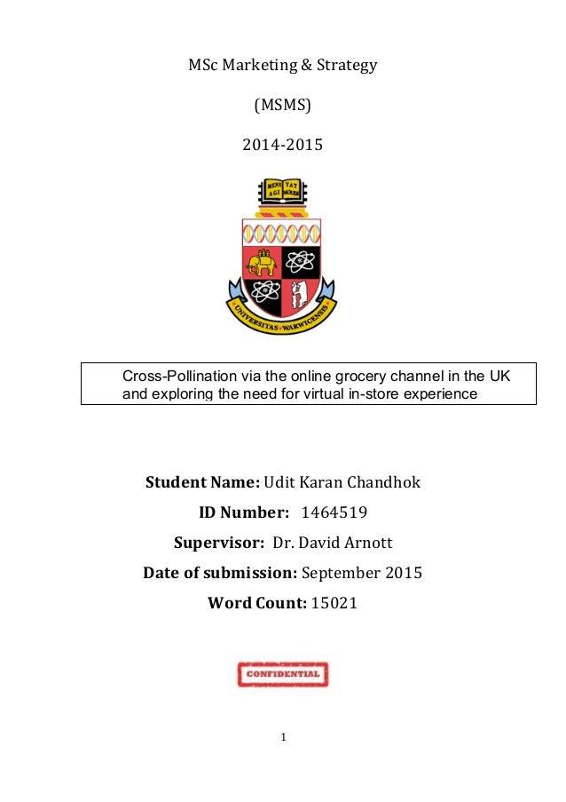 1   MSc  Marketing  &  Strategy   (MSMS)   2014-‐2015               Student  Name:  Udit  K...