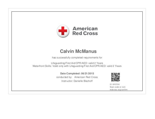red cross lifeguard and waterfront skills certificate