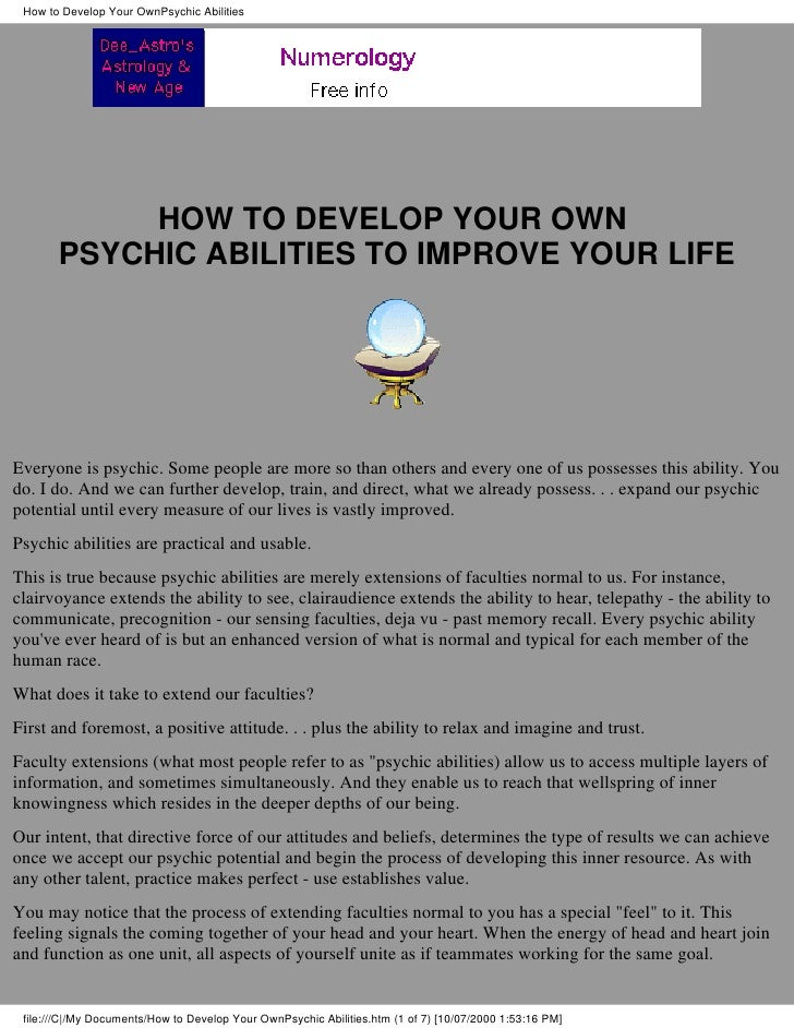 How to Develop Your OwnPsychic Abilities                 HOW TO DEVELOP YOUR OWN        PSYCHIC ABILITIES TO IMPROVE YOUR ...