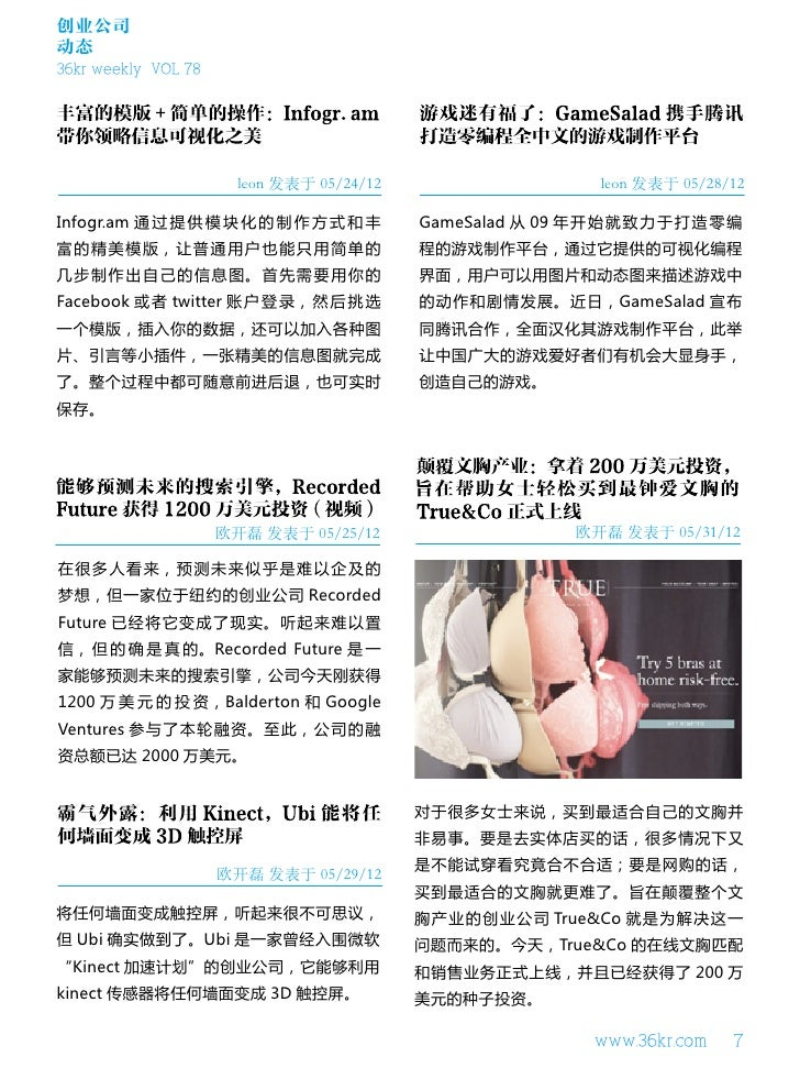 创业公司动态36kr weekly VOL 78                       leon 发表于 05/24/12                 leon 发表于 05/28/12Infogr.am 通 过 提 供 模 块 化 ...