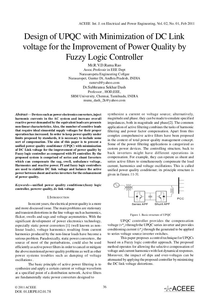 ACEEE Int. J. on Electrical and Power Engineering, Vol. 02, No. 01, Feb 2011     Design of UPQC with Minimization of DC Li...