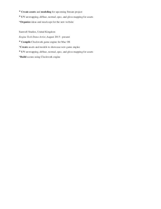 Ramona\'s Resume Game Design