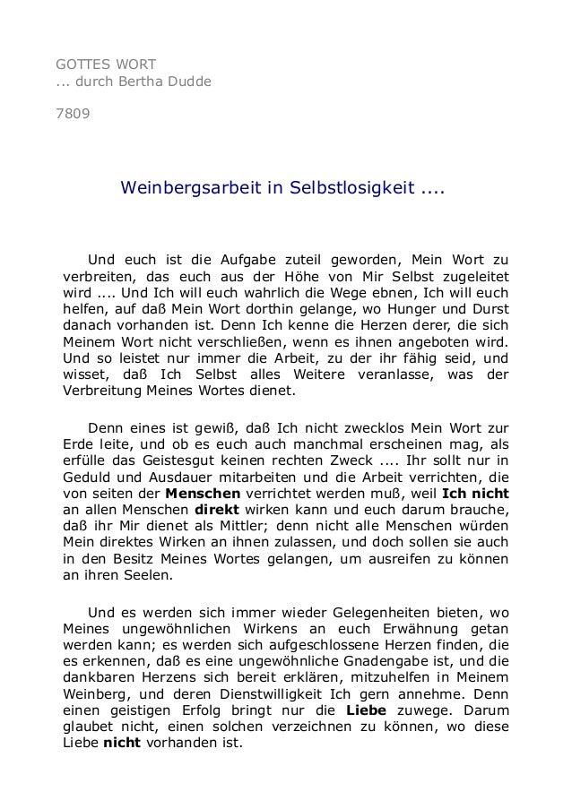 GOTTES WORT ... durch Bertha Dudde 7809 Weinbergsarbeit in Selbstlosigkeit .... Und euch ist die Aufgabe zuteil geworden, ...