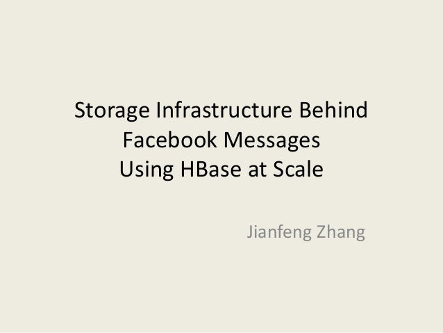 Storage Infrastructure Behind Facebook Messages Using HBase at Scale Jianfeng Zhang