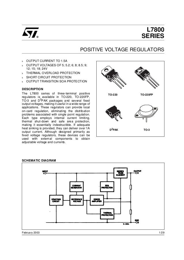 1/29February 2003 s OUTPUT CURRENT TO 1.5A s OUTPUT VOLTAGES OF 5; 5.2; 6; 8; 8.5; 9; 12; 15; 18; 24V s THERMAL OVERLOAD P...