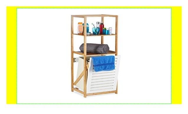 Relaxdays Badregal mit Wäschekorb, Badezimmer Regal Bambus ...