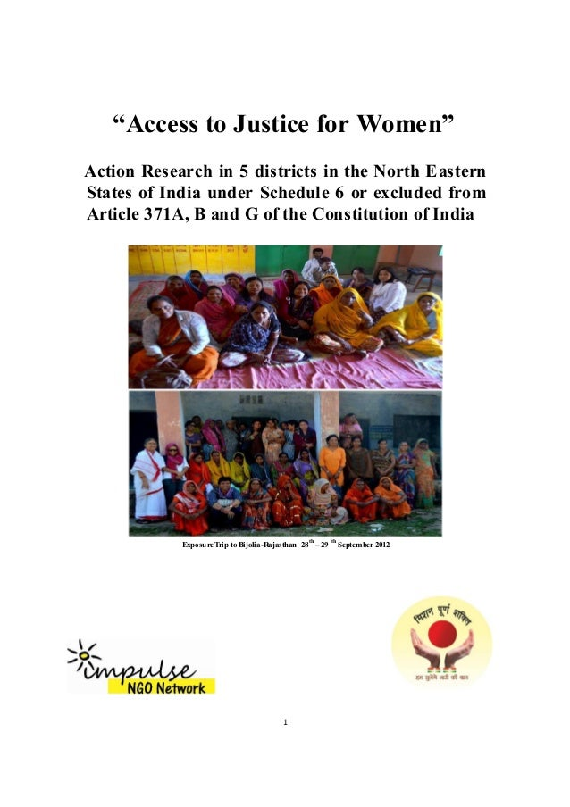 """Access to Justice for Women"" Action Research in 5 districts in the North Eastern States of India under Schedule 6 or excl..."